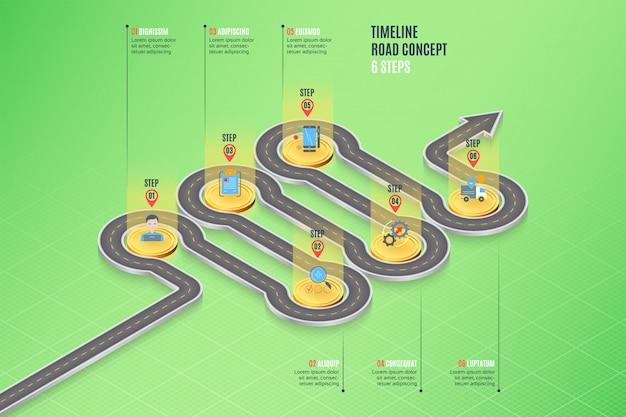 Mapa de navegação isométrica infográfico conceito de cronograma de 6 etapas
