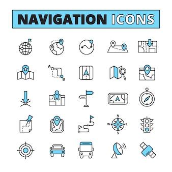 Mapa de navegação para encontrar símbolos de localização no seu tablet telefone delineado pictogramas definir ilustração vetorial abstrato isolado