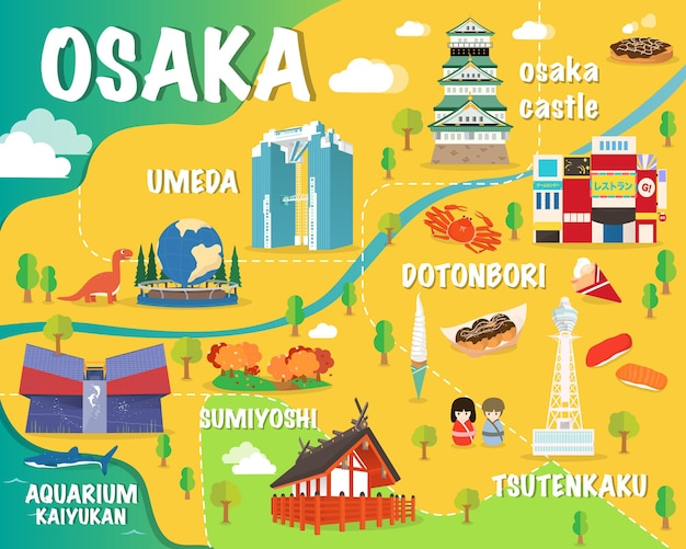 Mapa de osaka com pontos de referência coloridos. ilustração do japão