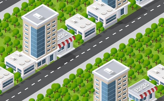 Mapa de padrão de plano urbano sem emenda. paisagem isométrica