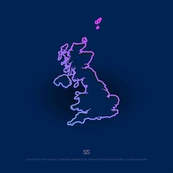 Mapa de país do reino unido fundo de azul presentaion