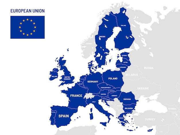 Mapa de países da união europeia. nomes de países membros da ue, ilustração de mapas de localização da terra da europa