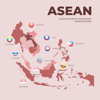 Mapa de países de cooperação da asean