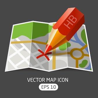 Mapa de papel de ícone ector com uma marca de lápis vermelho feita