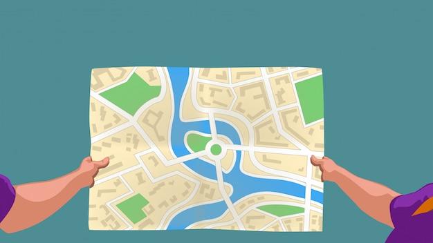 Mapa de papel de mãos
