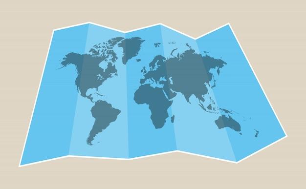 Mapa de papel do mundo