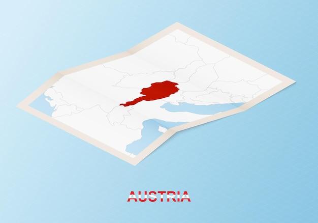 Mapa de papel dobrado da áustria com os países vizinhos em estilo isométrico.