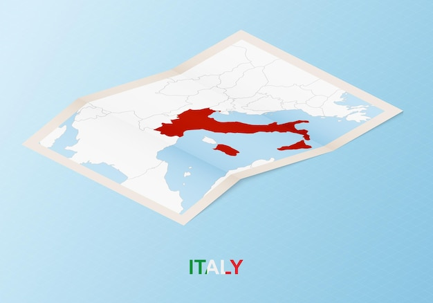 Mapa de papel dobrado da itália com os países vizinhos em estilo isométrico.