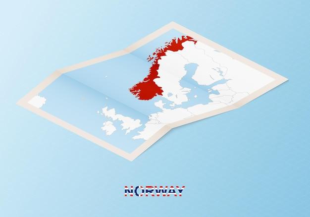 Mapa de papel dobrado da noruega com os países vizinhos em estilo isométrico.