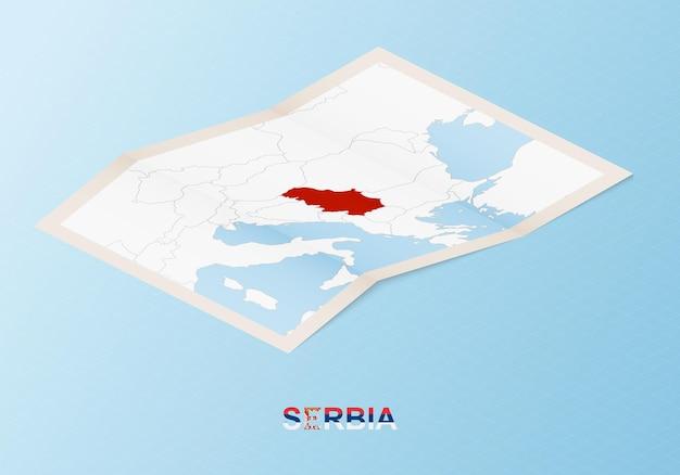Mapa de papel dobrado da sérvia com os países vizinhos em estilo isométrico.