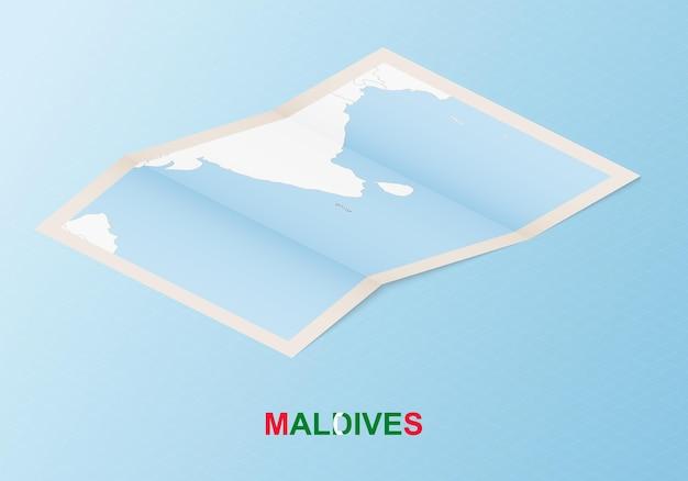 Mapa de papel dobrado das maldivas com os países vizinhos em estilo isométrico.