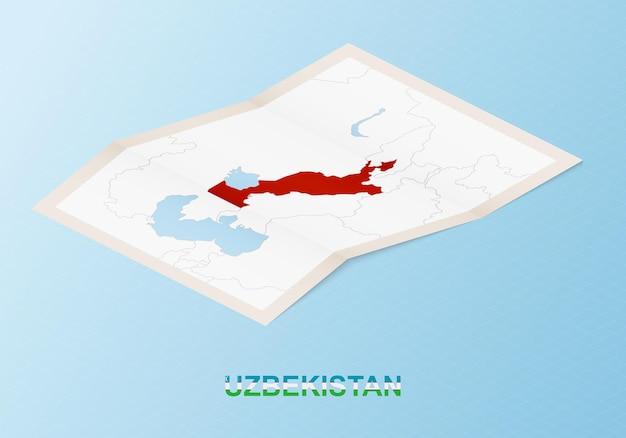 Mapa de papel dobrado do uzbequistão com os países vizinhos em estilo isométrico.