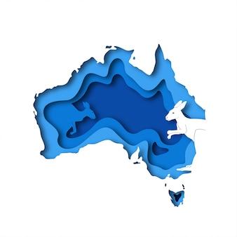 Mapa de papercut da austrália com silhueta de canguru