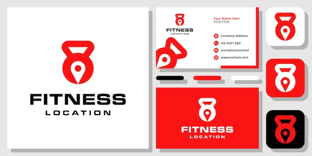 Mapa de pino de localização kettlebell ginásio fitness exercício barra design de logotipo com modelo de cartão de visita