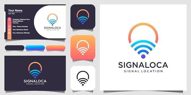 Mapa de pinos de localização de sinais combinados com logotipo de onda e design de cartão de visita