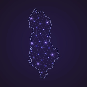 Mapa de rede digital da albânia. linha de conexão abstrata e ponto em fundo escuro