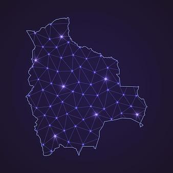 Mapa de rede digital da bolívia. linha de conexão abstrata e ponto em fundo escuro