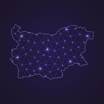 Mapa de rede digital da bulgária. linha de conexão abstrata e ponto em fundo escuro