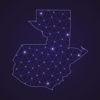 Mapa de rede digital da guatemala. linha de conexão abstrata e ponto em fundo escuro