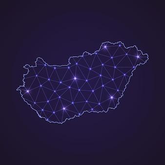 Mapa de rede digital da hungria. linha de conexão abstrata e ponto em fundo escuro