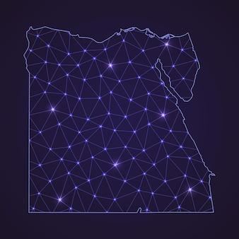 Mapa de rede digital do egito. linha de conexão abstrata e ponto em fundo escuro