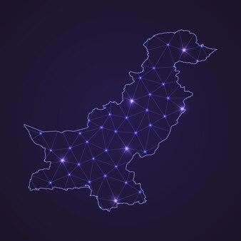 Mapa de rede digital do paquistão. linha de conexão abstrata e ponto em fundo escuro