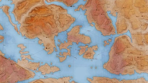 Mapa de relevo antigo terra abstrata com grande volume de dados e conexões.