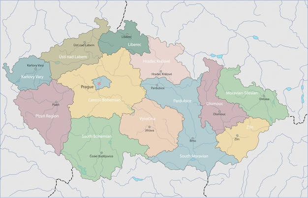 Mapa, de, república tcheca