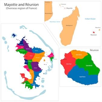 Mapa de reunião e mayotte