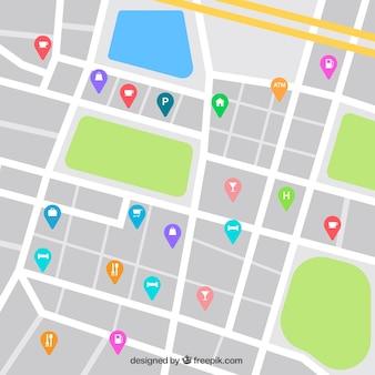 Mapa de rua que desing com sector de restauraçã pins
