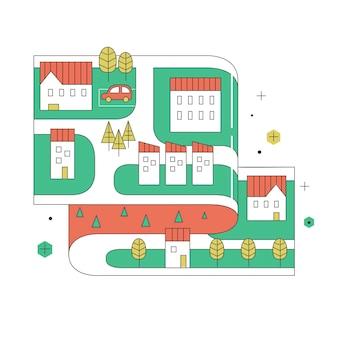 Mapa de ruas de uma pequena cidade em design plano de linha fina