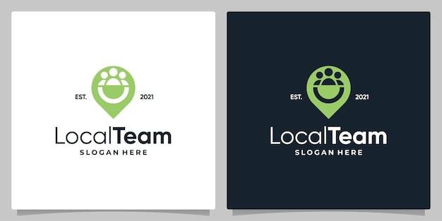 Mapa de símbolo de localização de pino com logotipo, um design de equipe e cartão de visita.