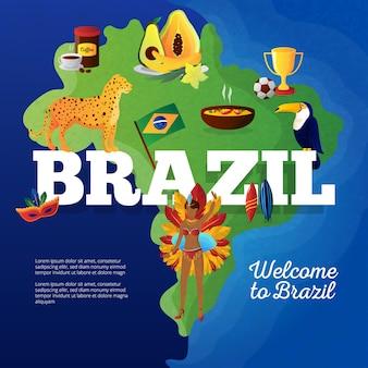 Mapa de símbolos culturais do brasil para viajantes cartaz plano com pássaro tucano e troféu de copa de futebol