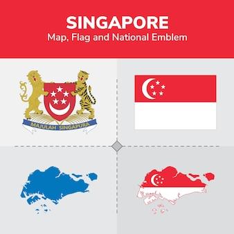 Mapa de singapura, bandeira e emblema nacional