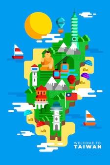 Mapa de taiwan com marcos