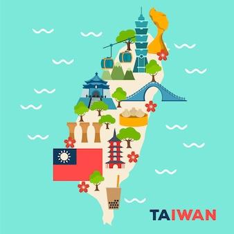 Mapa de taiwan com pontos de referência