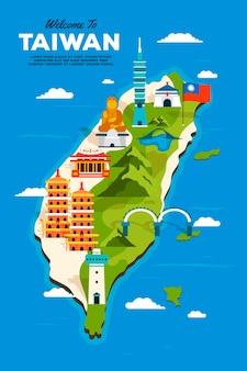 Mapa de taiwan criativo com marcos
