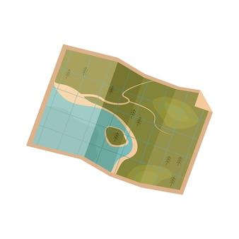 Mapa de terreno de estilo antigo em papel bege. rota