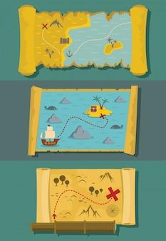 Mapa, de, tesouro, fundos