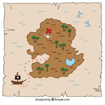 Mapa de tesouro pirata desenhado à mão