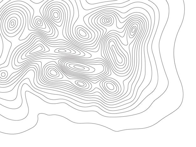 Mapa de topografia. linhas de contorno de montanhas de cartografia, mapas de elevação e topologia de linhas de contorno da terra