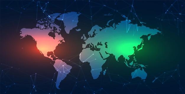 Mapa de trabalho no plano de fundo das linhas de tecnologia de rede