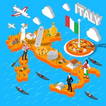 Mapa de turismo isométrica de itália para turistas