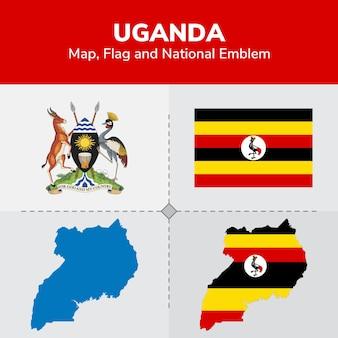 Mapa de uganda, bandeira e emblema nacional