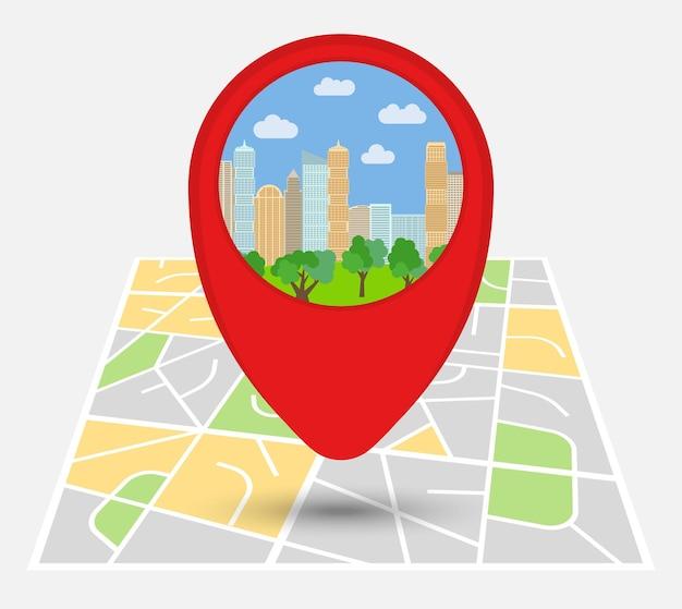 Mapa de uma cidade imaginária com ponto no mapa com arranha-céus e parque. ilustração vetorial.