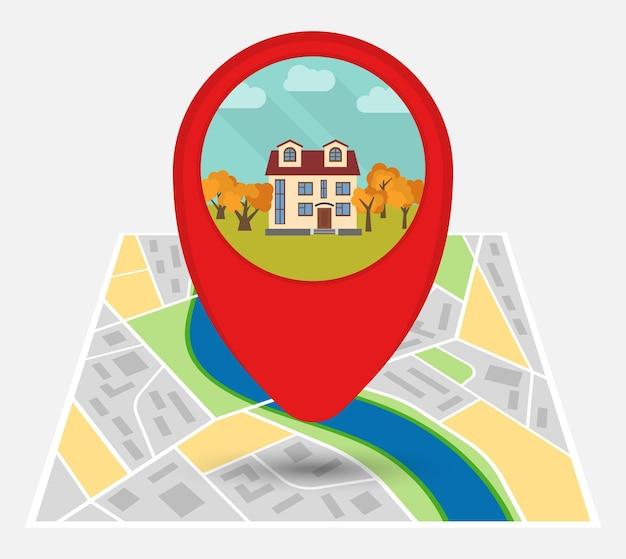 Mapa de uma cidade imaginária com ponto no mapa com uma casa solitária. ilustração vetorial.