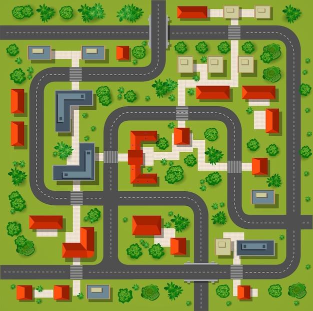 Mapa de uma vista de cima dos telhados, ruas da cidade, árvores e rodovias