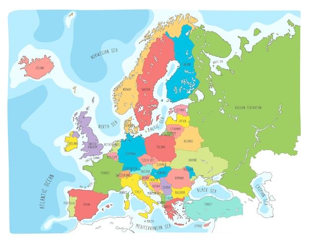 Mapa de vetor colorido mão desenhada da europa