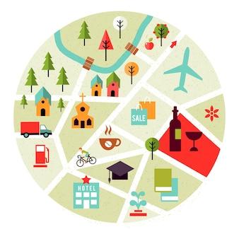 Mapa de vetor com ícones de lugares. árvores, casas e estradas