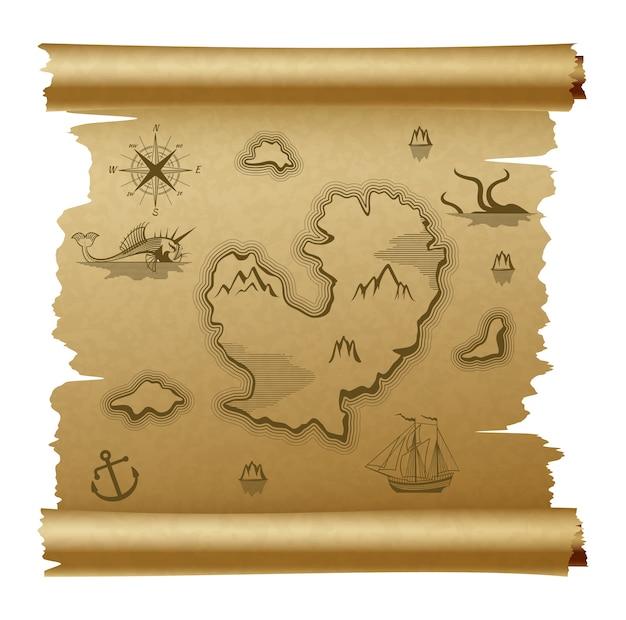 Mapa de vetor vintage rolado pergaminho marrom